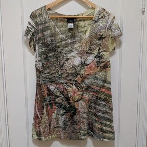 Daytrip- Multicolored burnout tshirt w/ crystals